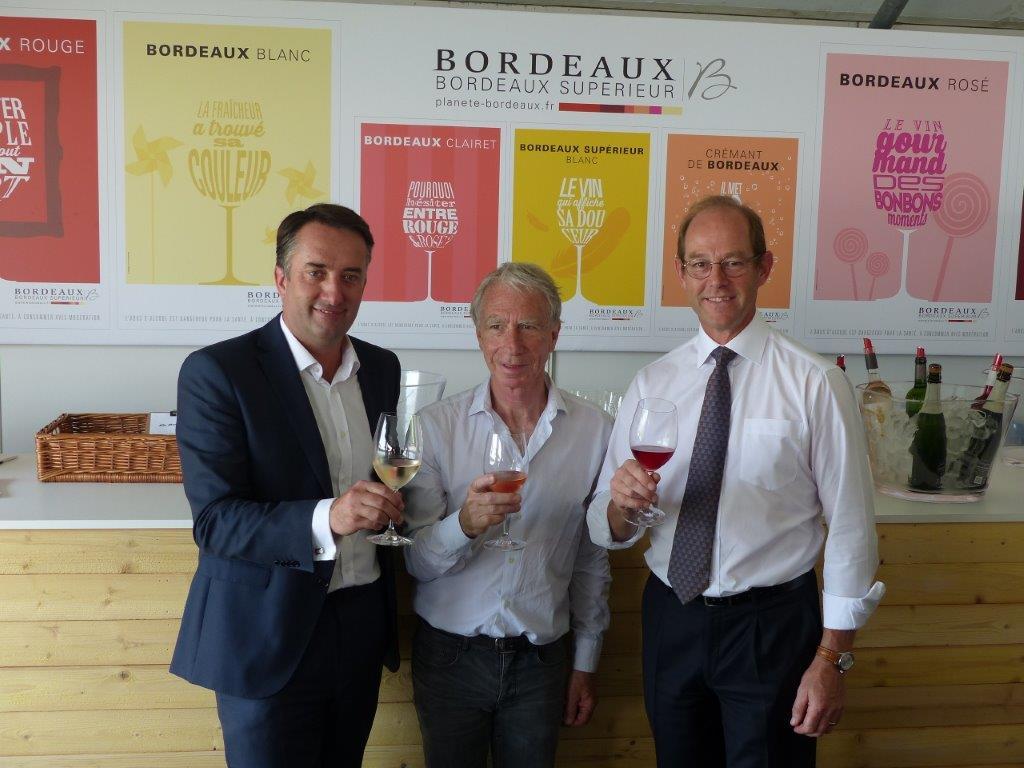 Christophe Chateau, directeur de la communication du CIVB ; Richard Coconnier, Bordeaux Grands Evénements, et Allan Sichel, président du CIVB